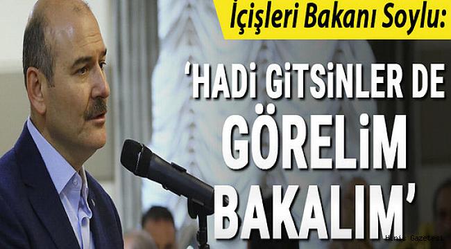 İçişleri Bakanı Soylu: Hadi gitsinler de görelim