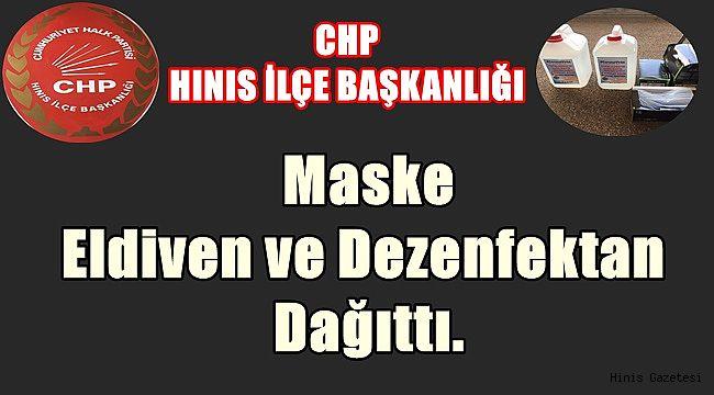 CHP Hınıs İlçe Başkanlığı Maske ve Dezenfektan Dağıttı.