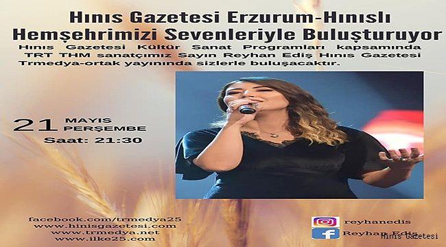 TRT Sanatçımız Reyhan EDİŞ Canlı Yayın Konuğumuz Olacak