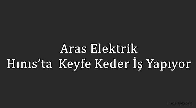 Aras Elektrik Hınıs'ta Keyfe Keder İş Yapıyor
