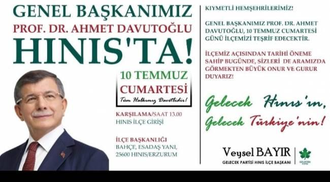 Prof.Dr.Ahmet DAVUTOĞLU Hınıs'a Geliyor